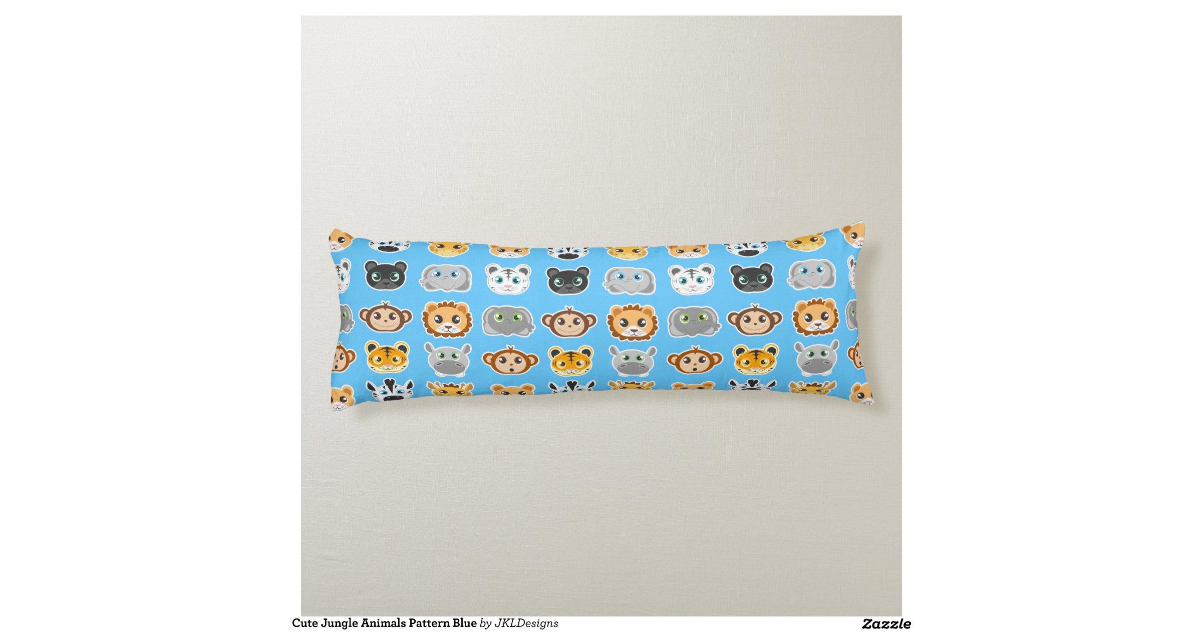 Animal Body Pillow Pattern : Cute Jungle Animals Pattern Blue Body Pillow Zazzle