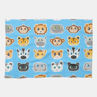 Cute Jungle Animals Pattern Blue Tea Towel
