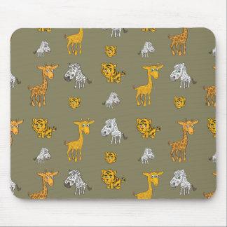 Cute Jungle Animals Pattern Mouse Pad