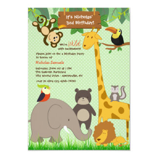 Cute Jungle Animanls Invitation