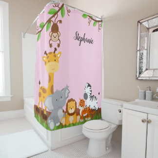 Cute Jungle Baby Animal {pick your color} Shower Curtain