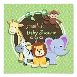 Cute Jungle Baby Shower; Bright Green Ovals 13 Cm X 13 Cm Square Invitation Card
