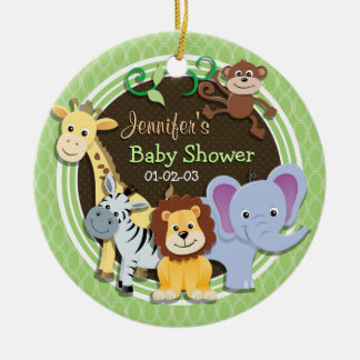 Cute Jungle Baby Shower; Bright Green Ovals Christmas Ornaments
