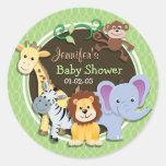 Cute Jungle Baby Shower; Bright Green Ovals Round Sticker