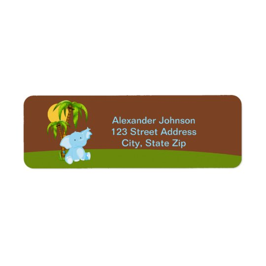 Cute Jungle Elephant Boy Return Address Labe Return Address Label