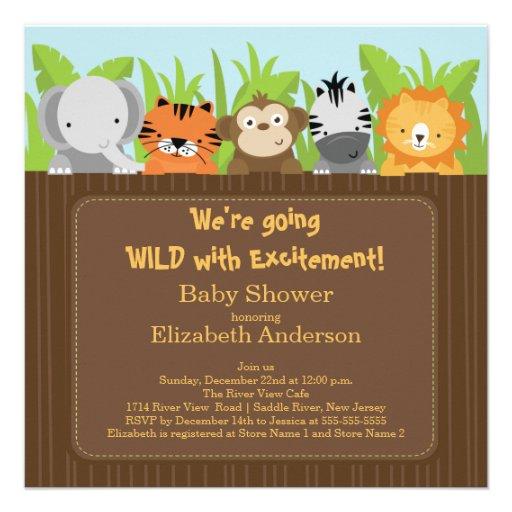 Cute Jungle Safari Animals Baby Shower Invitations