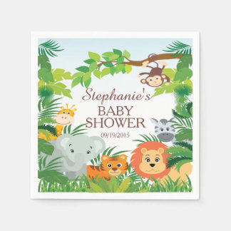 Cute Jungle Safari Animals Baby Shower Napkins Disposable Napkin