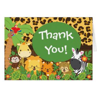 Cute Jungle Safari Animals Thank You Note Card