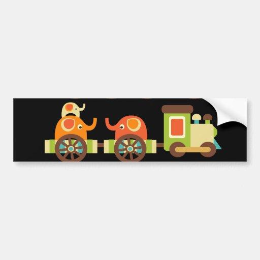 Cute Jungle Safari Animals Train Gifts Kids Baby Bumper Sticker