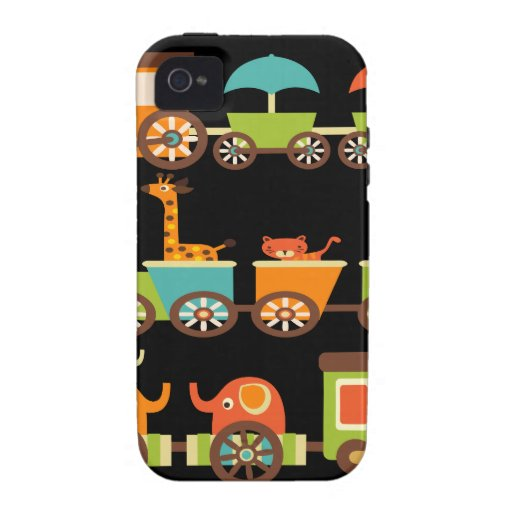 Cute Jungle Safari Animals Train Gifts Kids Baby Vibe iPhone 4 Cases