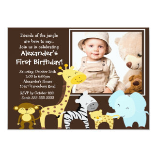 Cute Jungle Safari Photo Birthday Invitation