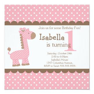 Cute Jungle Safari Pink Giraffe Birthday Party 13 Cm X 13 Cm Square Invitation Card