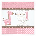 Cute Jungle Safari Pink Giraffe Birthday Party Personalized Invite
