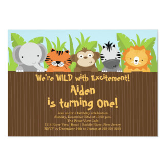 Cute Jungle Safari Zoo Animals Kids Birthday 13 Cm X 18 Cm Invitation Card