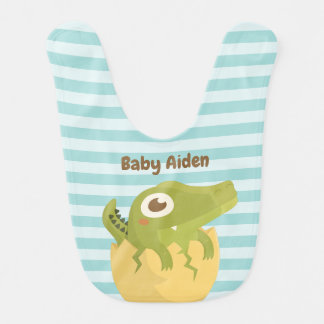 Cute Just Hatched Alligator in Egg Baby Boy Bib