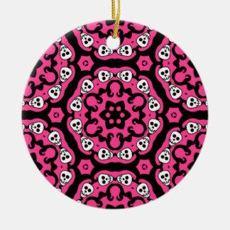 Cute kaleidoscopic skull damask hot pink round ceramic decoration