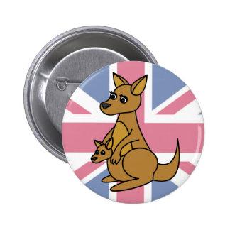 Cute Kangaroo and Joey 6 Cm Round Badge