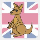 Cute Kangaroo and Joey Flag Background