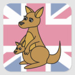 Cute Kangaroo and Joey Flag Background Square Sticker