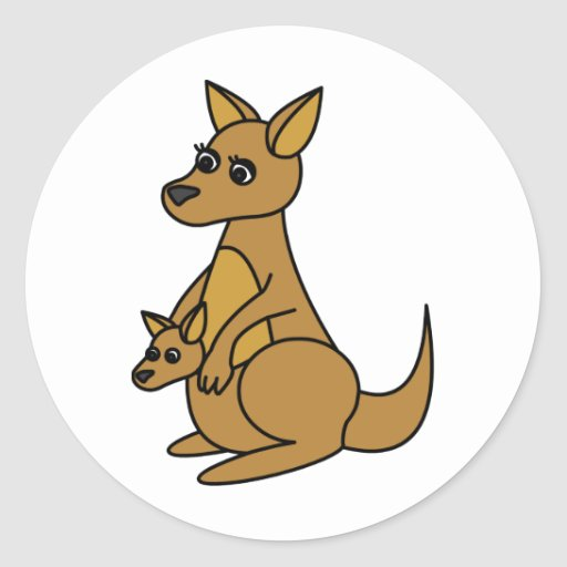 Cute Kangaroo and Joey Round Sticker