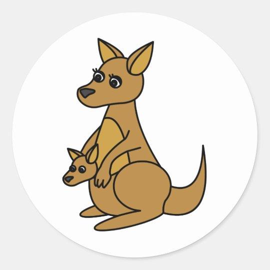 Cute Kangaroo and Joey Round Sticker