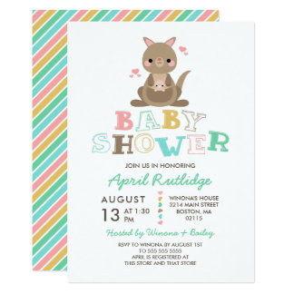 Cute Kangaroo Baby Shower Card