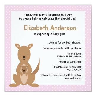 Cute Kangaroo Baby Shower Invitation - Girl