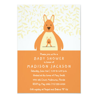 Cute Kangaroo Baby Shower Invitation | Orange