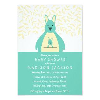 Cute Kangaroo Baby Shower Invitation | Teal
