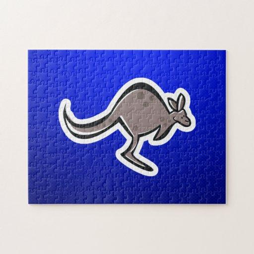 Cute Kangaroo; Blue Jigsaw Puzzle