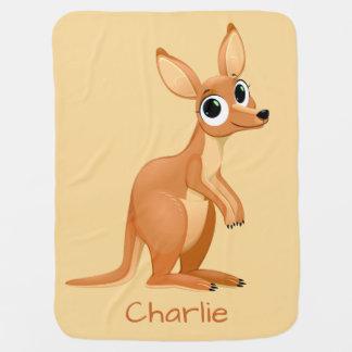 Cute Kangaroo custom name baby blanket