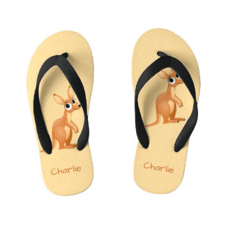 Cute Kangaroo custom name flip flops