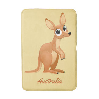 Cute Kangaroo custom text bath mats