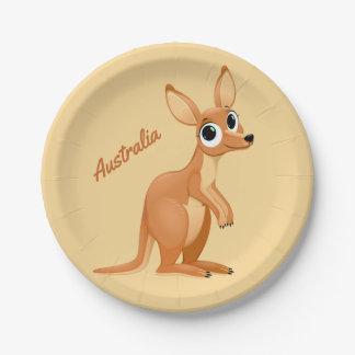 Cute Kangaroo custom text paper plates