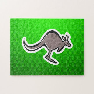 Cute Kangaroo; Green Jigsaw Puzzle