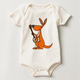 Cute Kangaroo Playing Banjo Cartoon Baby Bodysuit