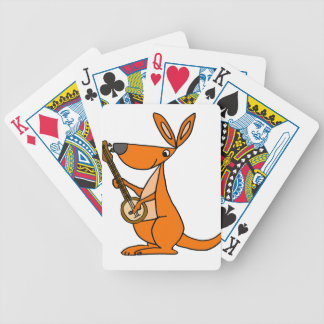 Cute Kangaroo Playing Banjo Cartoon Bicycle Playing Cards