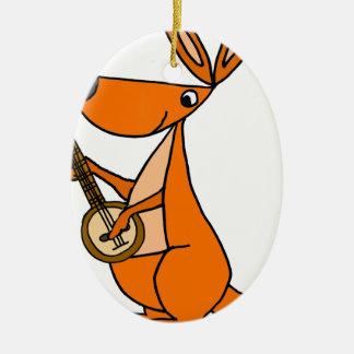 Cute Kangaroo Playing Banjo Cartoon Ceramic Ornament
