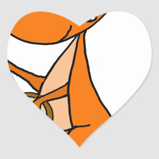 Cute Kangaroo Playing Banjo Cartoon Heart Sticker