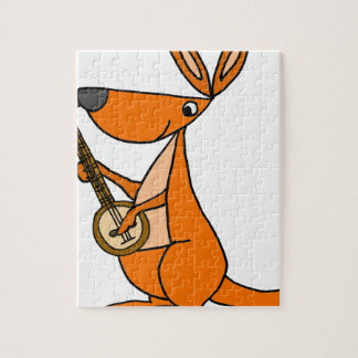 Cute Kangaroo Playing Banjo Cartoon Jigsaw Puzzle