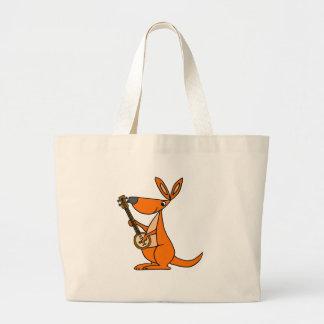 Cute Kangaroo Playing Banjo Cartoon Large Tote Bag