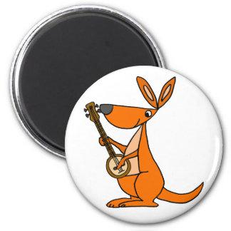 Cute Kangaroo Playing Banjo Cartoon Magnet