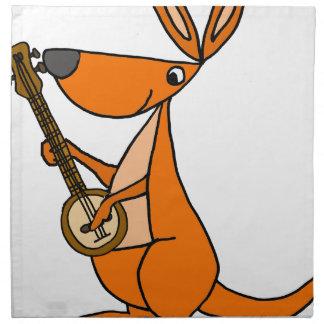 Cute Kangaroo Playing Banjo Cartoon Napkin