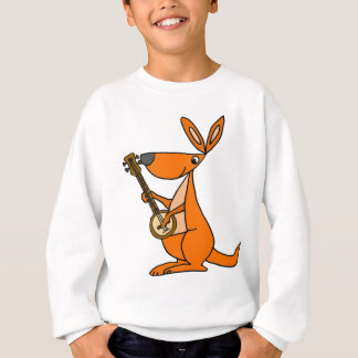Cute Kangaroo Playing Banjo Cartoon Sweatshirt