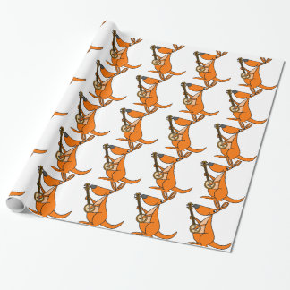 Cute Kangaroo Playing Banjo Cartoon Wrapping Paper