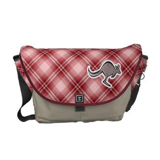 Cute Kangaroo; Red Plaid Courier Bags