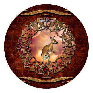 Cute kangaroo with baby in a fantasy landscape 13 cm x 13 cm square invitation card