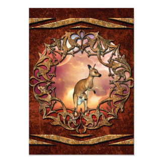 Cute kangaroo with baby in a fantasy landscape 13 cm x 18 cm invitation card