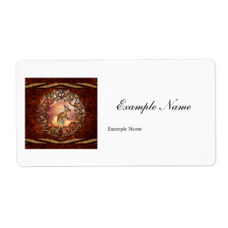 Cute kangaroo with baby in a fantasy landscape shipping label