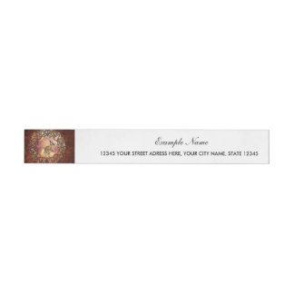 Cute kangaroo with baby in a fantasy landscape wraparound address label